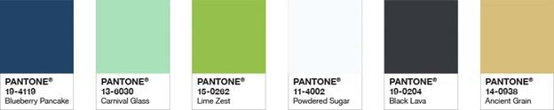 Kitchen Design Trends- Pantone Spring 2019 partial palette
