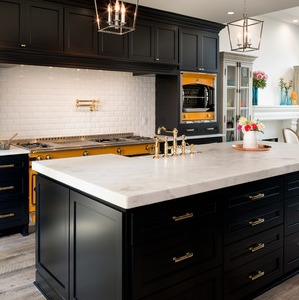 black and gold kitchen and bath