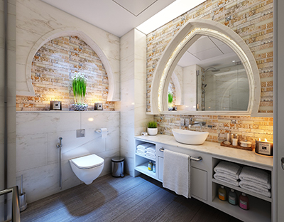 Bathroom stone selection - candles in modern setting