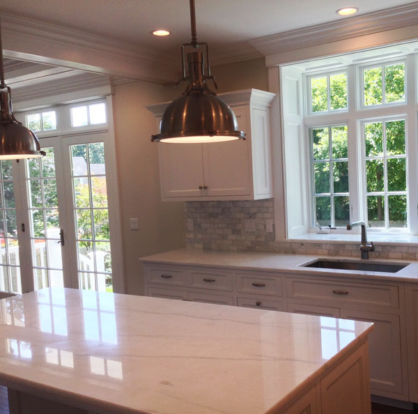 White Macaubas Quartzite Kitchen Counter, Ridgefield, CT