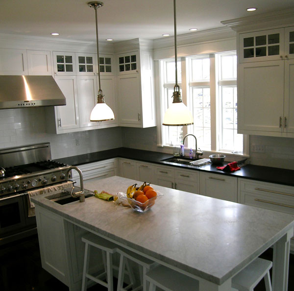 Absolute Black Granite, Polished, Bianca Carrera, =<br>Location: New Canaan, CT<br>Kitchen Remodel