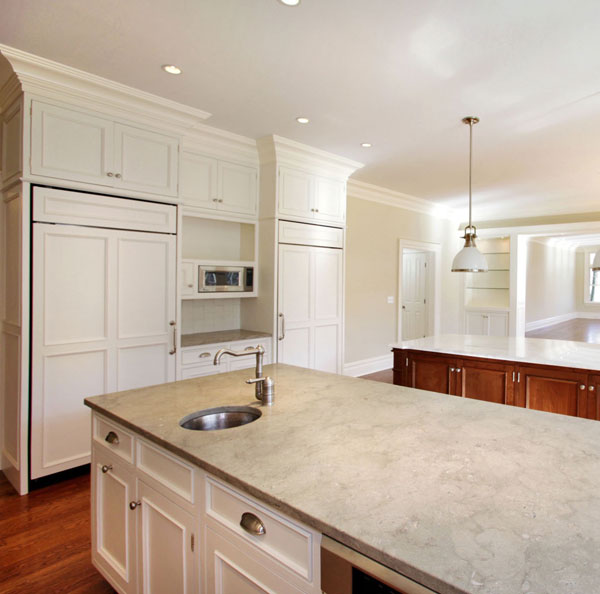 Jeruselum Grey Limestone<br>Location: Ridgefield, CT<br>Kitchen Island Countertops