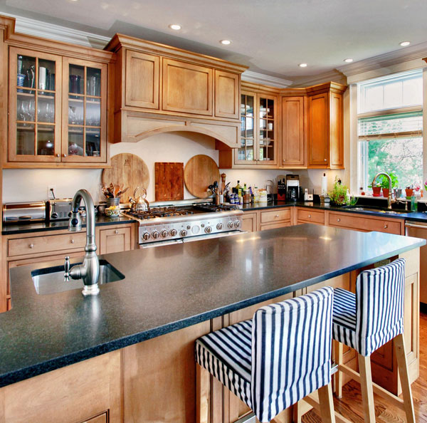 Green Soapstone, Oiled<br>Location:Pound Ridge, NY<br>Kitchen Island Pencil Edge