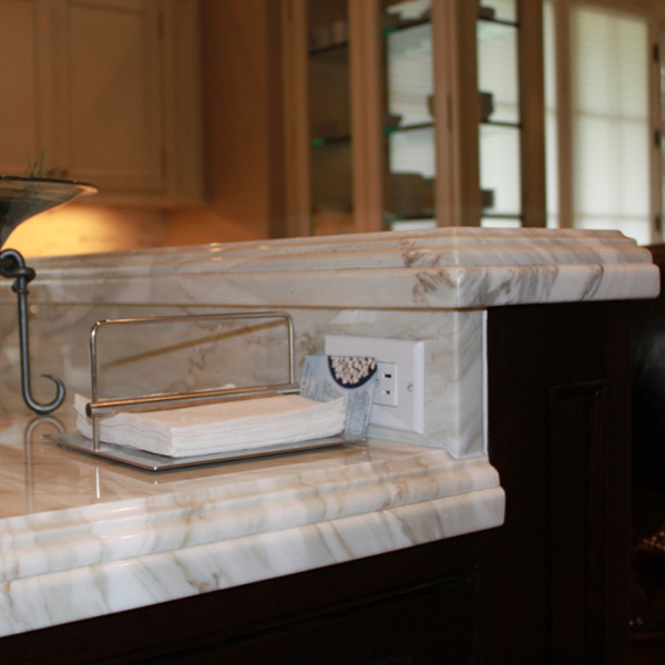 Calacatta Marble Kitchen Island, Greenwich CT