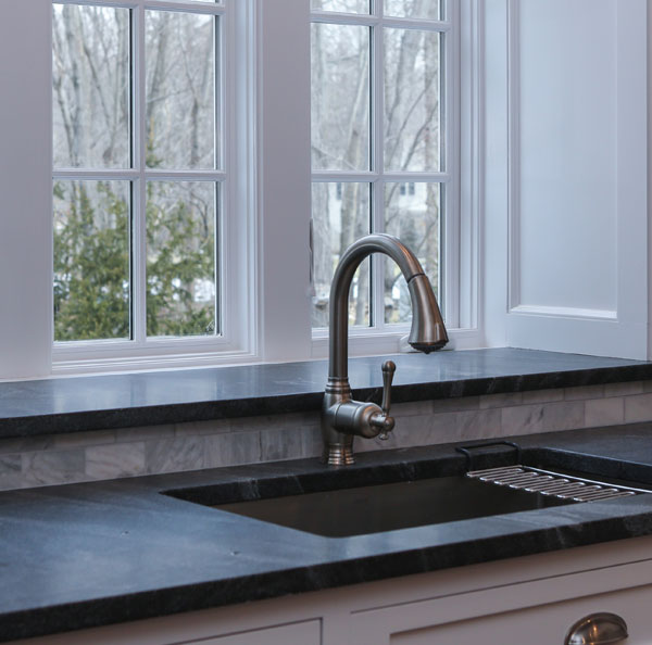 Black Soapstone, Honed<br>Darien, CT<br>Kitchen Top and Windowsill