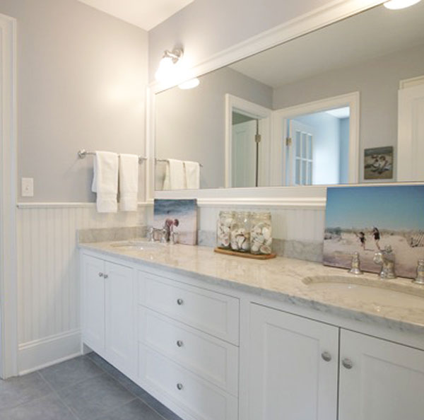 White Carrara Marble Bathroom Vanity Countertop, Stamford, CT
