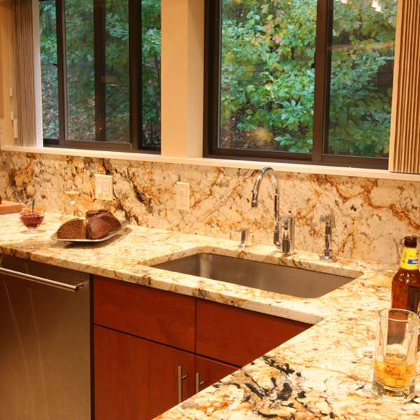 Delicatus Granite, Polished<br> Location: Harrison, NY<br>Kitchen Counter & Backsplash